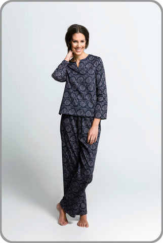 Women's Organic Cotton Pyjamas - Dahlia Pants with Tunic Set