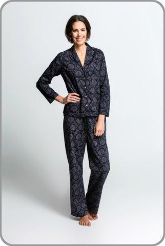 Women's Organic Cotton Pyjamas - Dahlia Pants with Classic Top Set