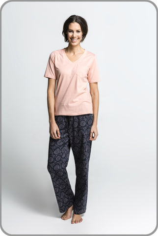 Women's Organic Cotton Pyjamas - Dahlia Pants with Peach Tee