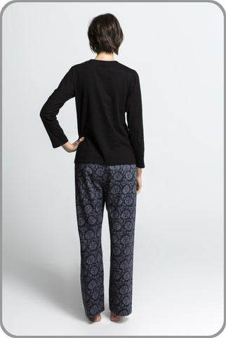 Women's Ethical Organic Pyjamas - Dahlia Pants with LS Tee Set