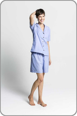 Chambray Short Sleeved Button Top with Shorts Set