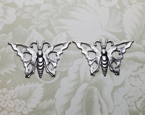 Silver Butterfly Stampings (2) - L1213 Jewelry Finding