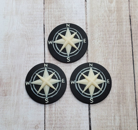 25mm Compass Cameos (3) - L795 Jewelry Finding