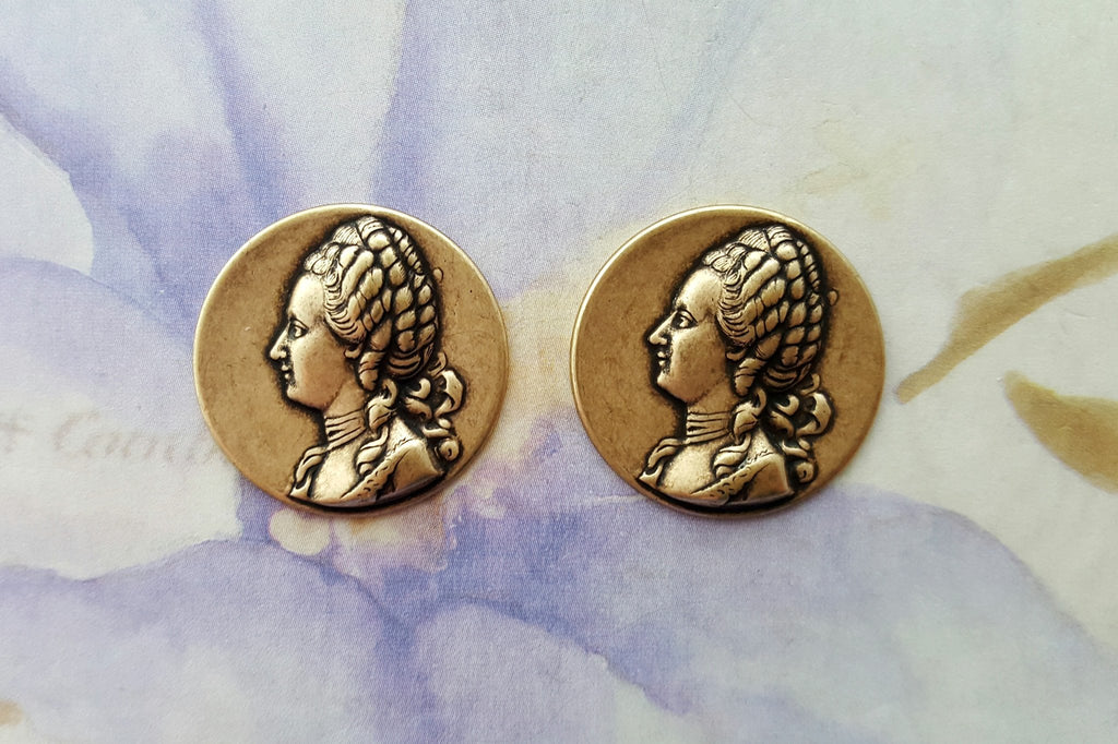 Oxidized Brass Marie Antoinette Stampings (2) - BOFFA1465