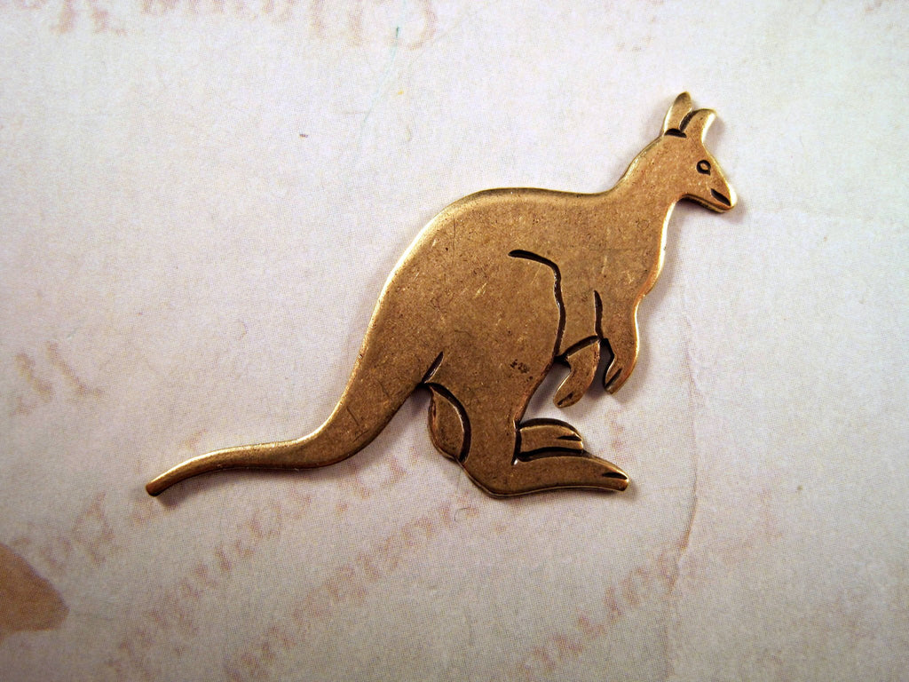 Large Oxidized Brass Kangaroo Stamping (1) - BOS3256 Jewelry Finding