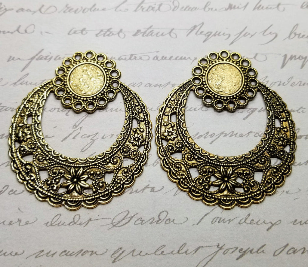 Large Matte Gold Fancy Filigree Charms With Setting (2) - GOL975