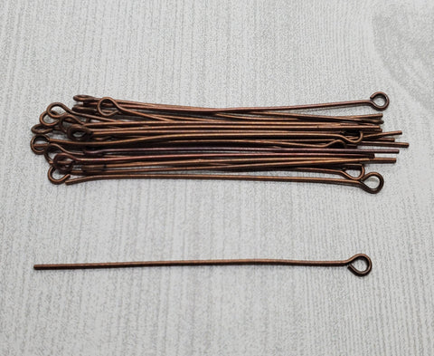 50mm 21 Gauge Antique Copper Eye Pins (24) - L1162