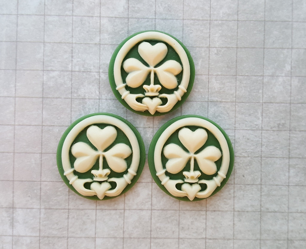 Green 25mm Claddagh Shamrock Cameos (3) - L919 Jewelry Finding