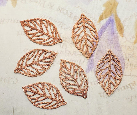 Rose Gold Ox Lacy Stardust Leaf Charms (6) - RGBF10