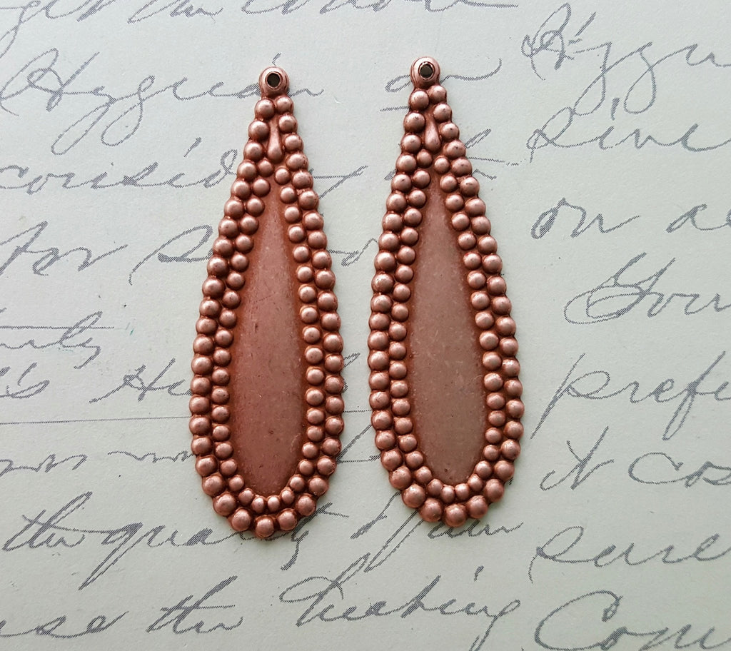Rose Gold Ox Charms With Beaded Edge (2) - RGS8303
