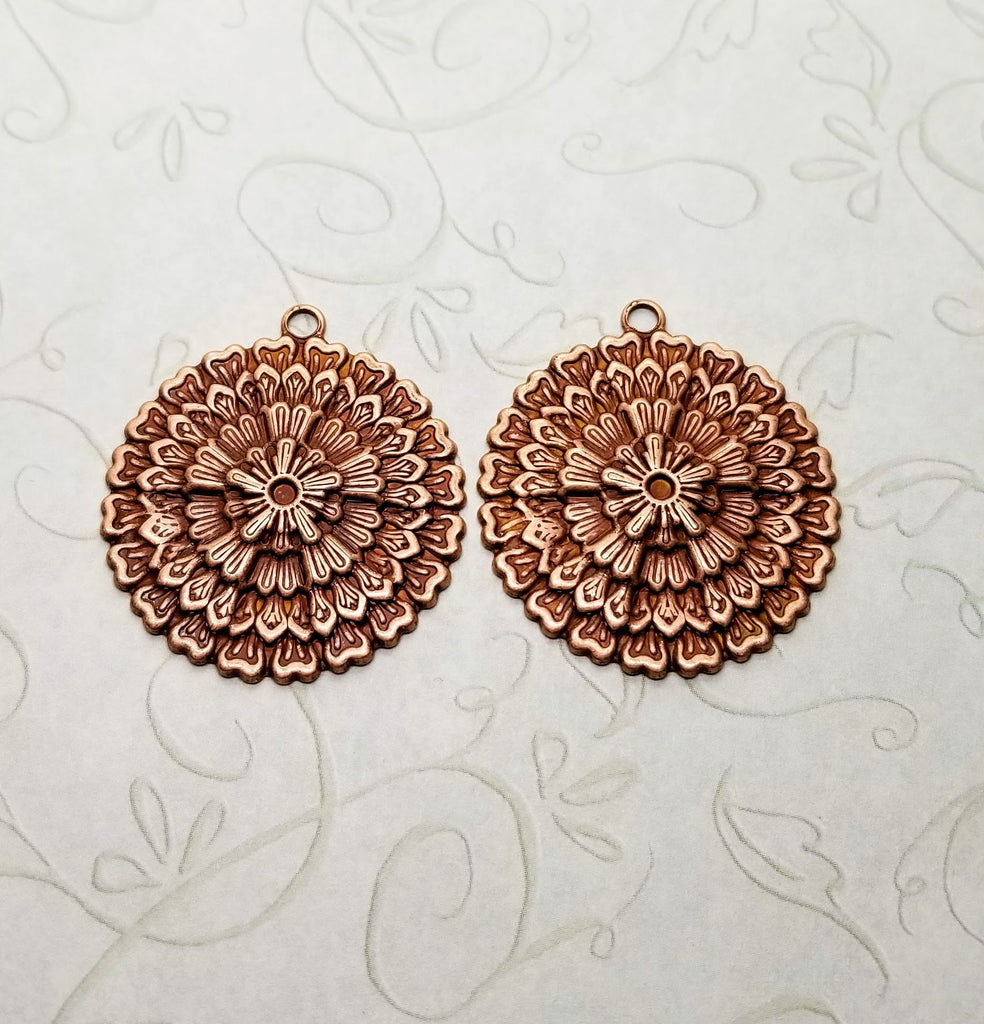 Rose Gold Ox Ornate Closed Filigree Charms (2) - RGSG5413R