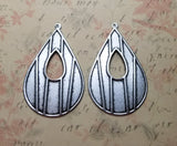 Large Oxidized Silver Modern Art Deco Teardrop Cut-Out Charms (2) - SOL974