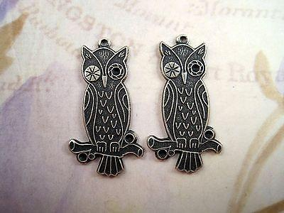 Oxidized Silver Plated Solid Brass Owl Charm Stampings (2)-SOS2315