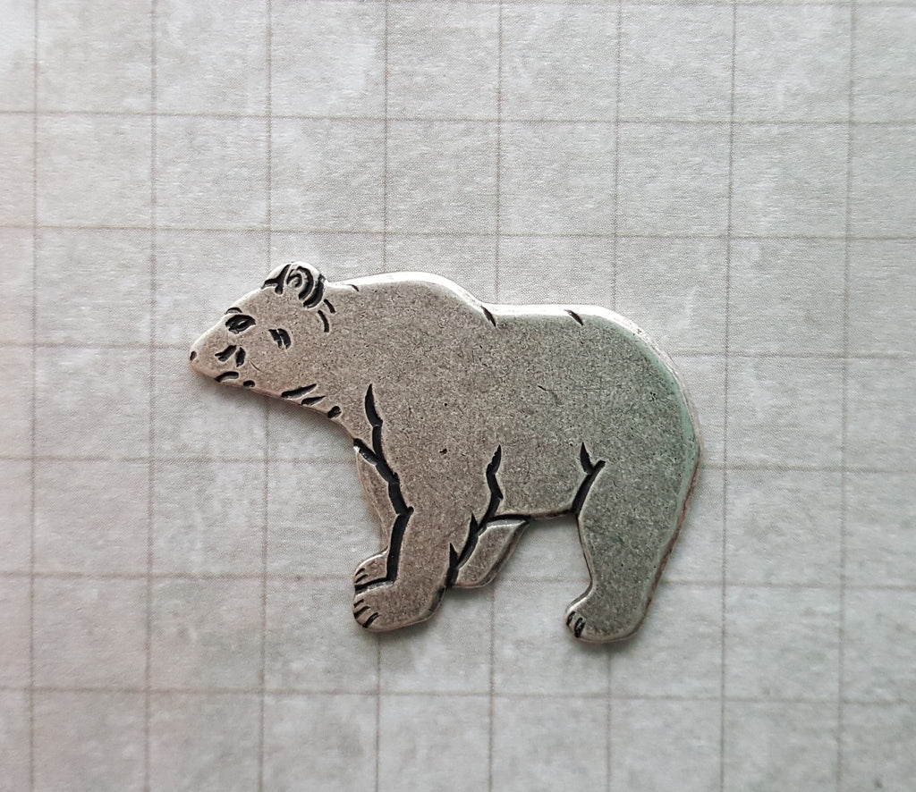 Large Oxidized Silver Grizzly Bear (1) - SOS3859