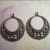 Oxidized  Silver Plated Brass Filigree Dangle Stampings (2) - SOS5381