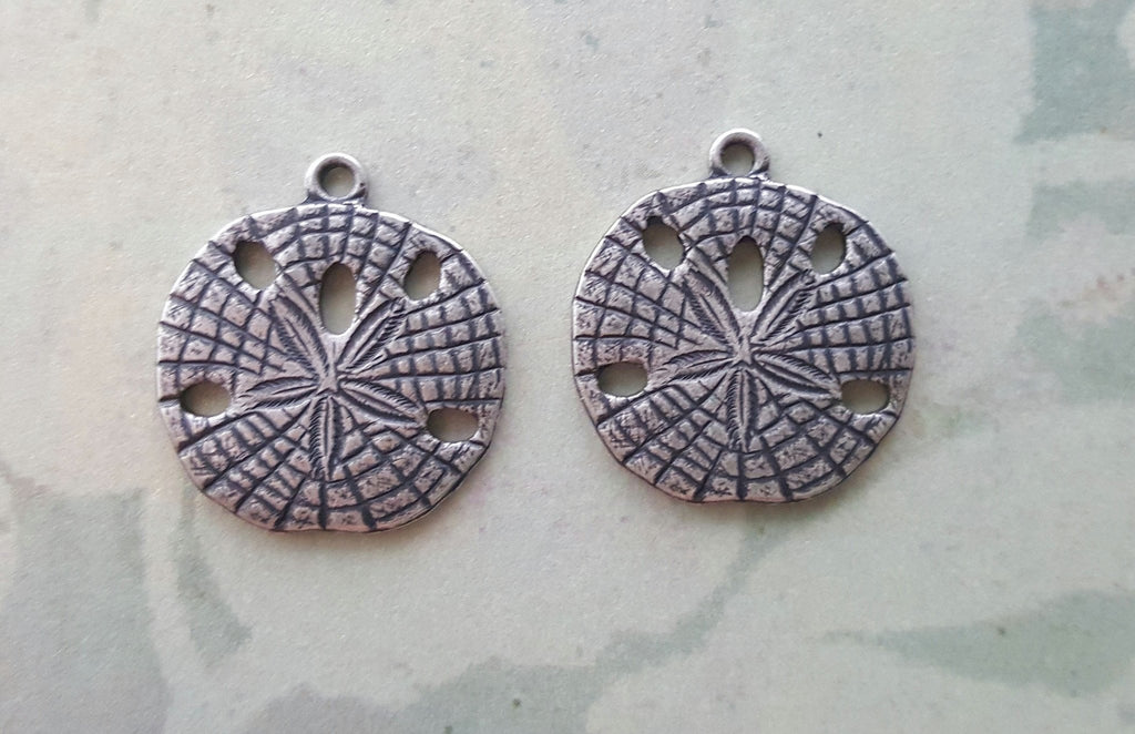 Oxidized Silver Sand Dollar Charms (2) - SOS7508