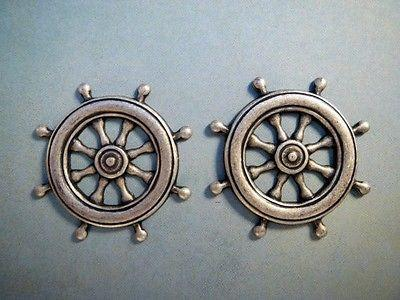 Oxidized Silver Plated Ship Wheel Stampings (2) - SOSG6208