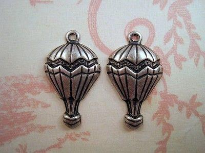 Oxidized Silver Plated Brass Hot Air Balloon Charm Stampings (2) - SOSG8995R