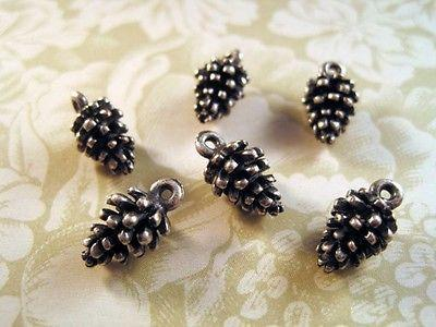Oxidized Silver Plated Pine Cone Casting Charms (6) - SOSGK1031