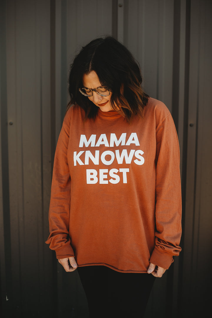 Lifestyle shoot | Mama Knows Best Unisex L/S Crewneck Tee - Sunburn