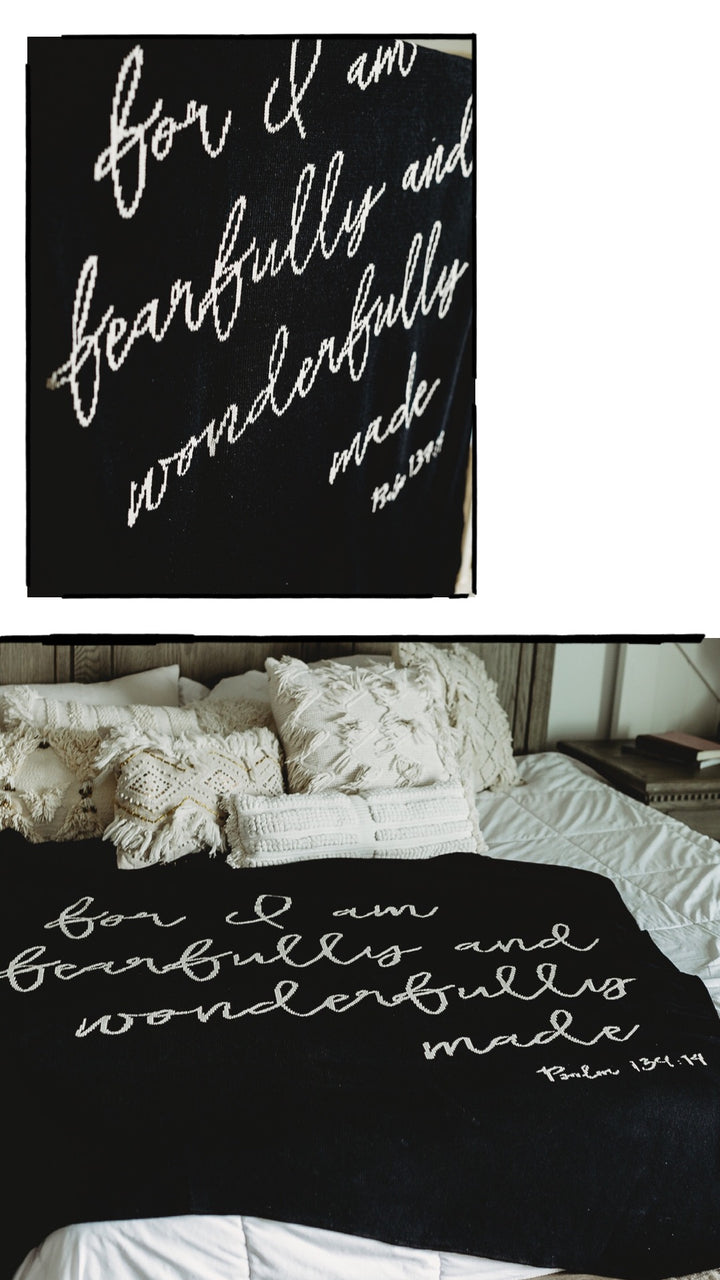 Lifestyle shoot | Recycled Cotton Blend Fearfully and Wonderfully Made Throw Blanket | Black