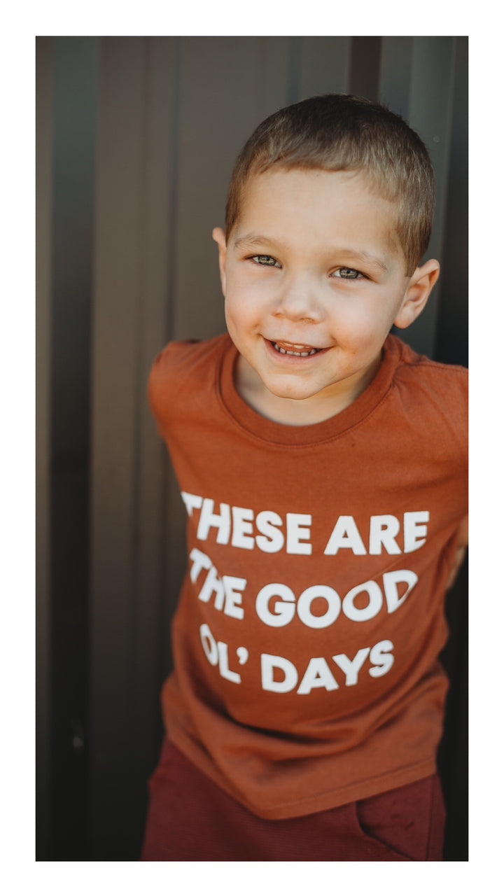 Lifestyle shoot | These Are The Good Ol' Days Kid S/S Crewneck Tee - Sunburn