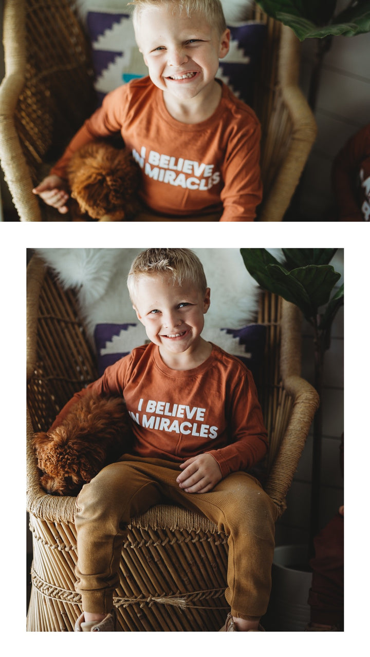 Lifestyle shoot | I believe in miracles Kid L/S Crewneck Tee - Sunburn