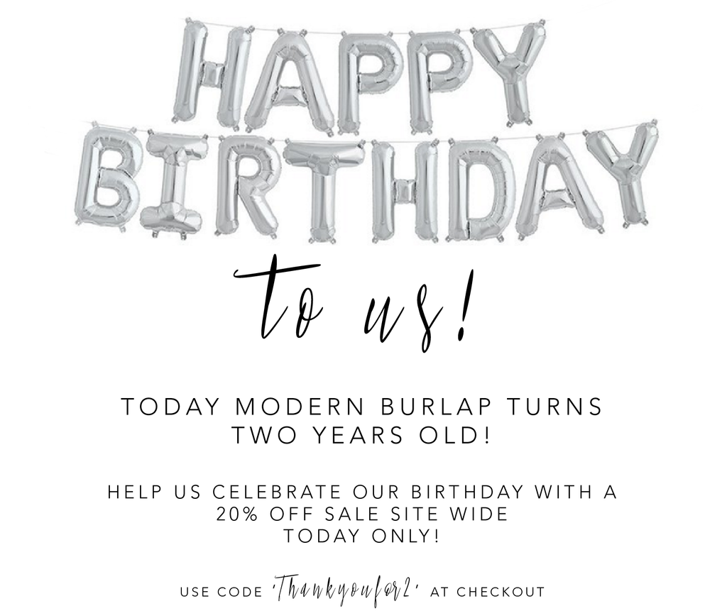 Modern Burlap Turns Two Years Old!
