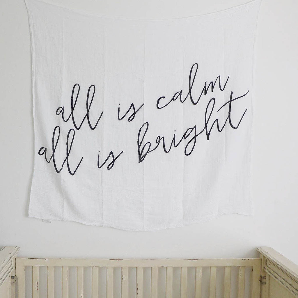 All is calm all is bright Modern Burlap Swaddle Blanket