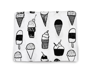 Load image into Gallery viewer, Organic Cotton Muslin Swaddle Blanket + Wall Art - Ice Cream Love ©