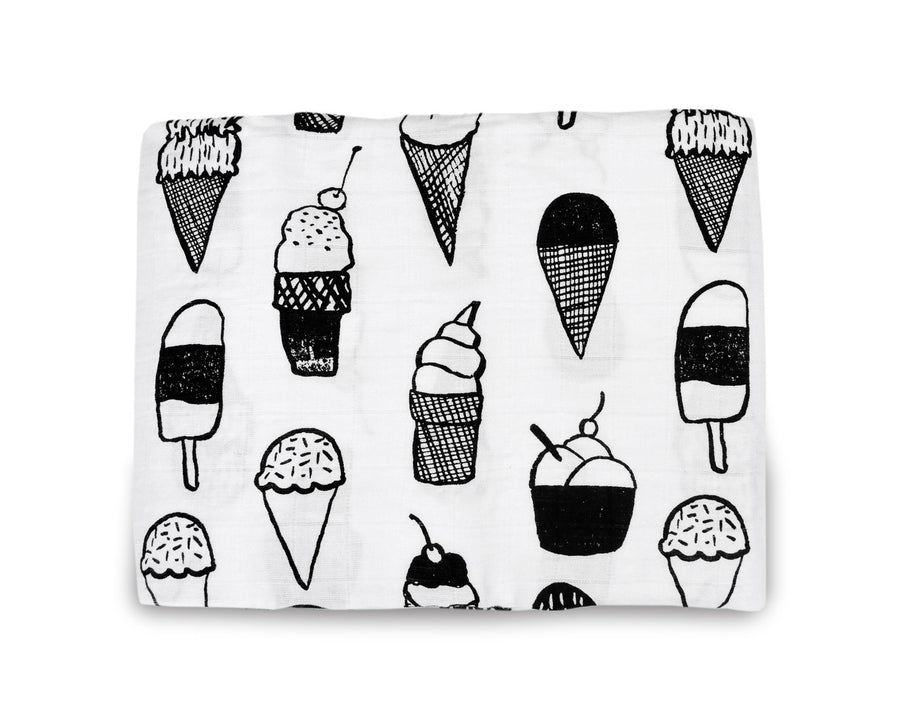 *JUST RESTOCKED* Organic Cotton Muslin Swaddle Blanket + Wall Art - Ice Cream Love ©