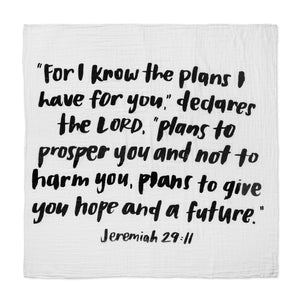 "Load image into Gallery viewer, Organic Cotton Muslin Swaddle Blanket+ Wall Art - ""For I know the plans I have for you,"" declares the Lord... Jeremiah 29:11"