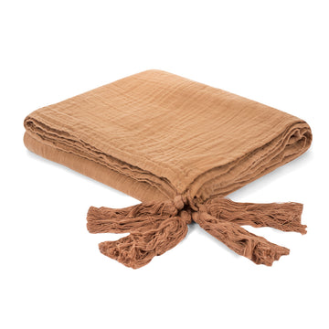 Organic Cotton Muslin XL Throw Blanket ☆  Ginger Tassels