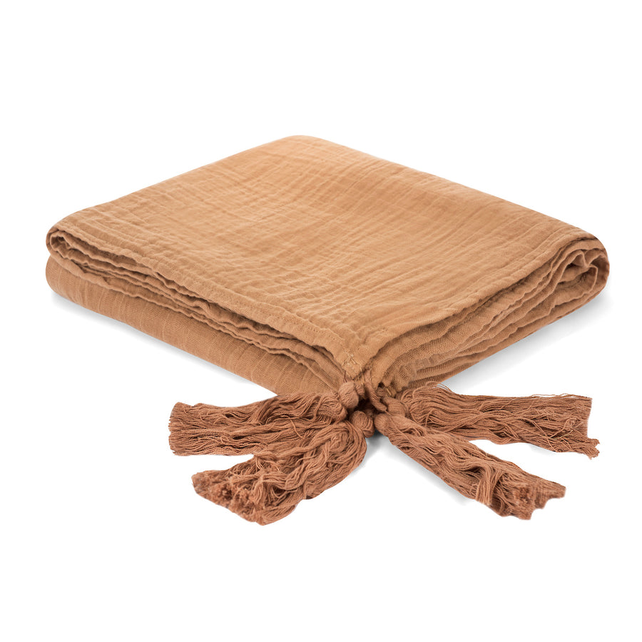 Organic Cotton Muslin XL Throw Blanket -   Ginger Tassels