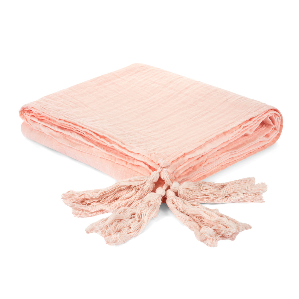 Organic Cotton Muslin XL Throw Blanket -   Dusty Pink Tassels