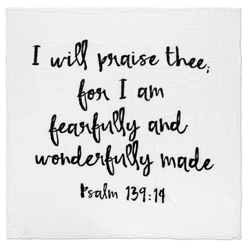 *JUST RESTOCKED* Organic Cotton Muslin Swaddle Blanket + Wall Art - Psalm 139:14 (New)