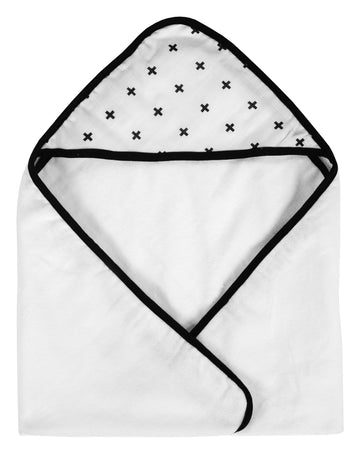 Organic Cotton Muslin + Terry Hooded Towel ☆ Swiss Cross