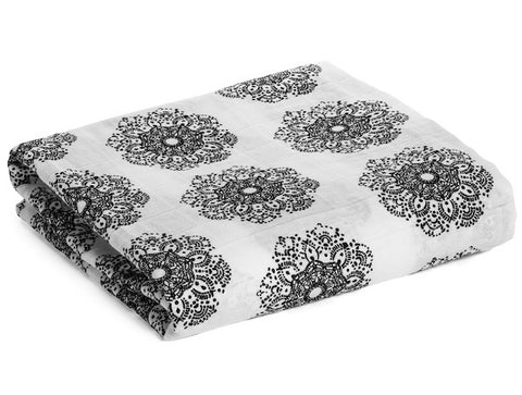 Organic Cotton Muslin Swaddle Blanket -  Doily Lace