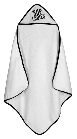 Load image into Gallery viewer, Organic Cotton Muslin + Terry Hooded Towel -  'Sup Ladies