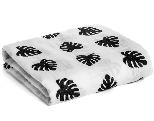 Organic Cotton Muslin Swaddle Blanket -  Tropical Palm Leaves