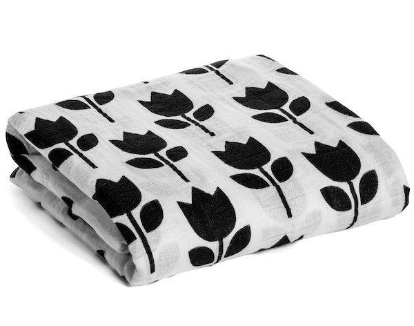 Organic Cotton Muslin Swaddle Blanket - Tulips