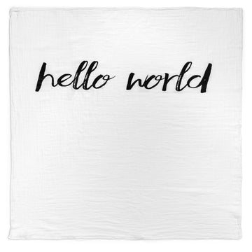 Organic Cotton Muslin Swaddle Blanket + Wall Art -   Hello World