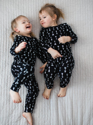 Organic Pajama Set -  WHITE ON BLACK ARROWS©