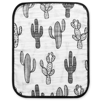 *JUST RESTOCKED* 4 Layer  Organic Cotton Muslin Burp Cloth -  REVERSIBLE Cactus © + Arrows ©