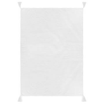 Organic Cotton Muslin XL Throw Blanket -   White Tassels