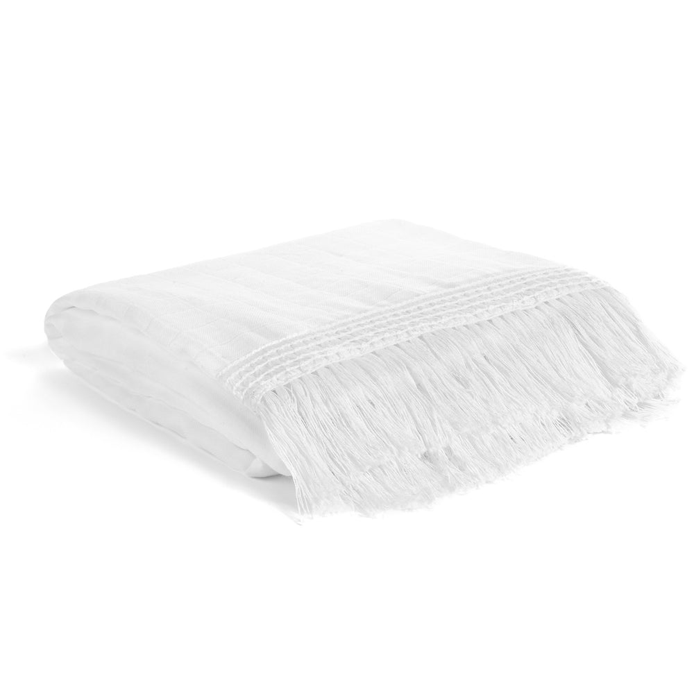 Organic Cotton Muslin XL Throw Blanket -   White Fringe