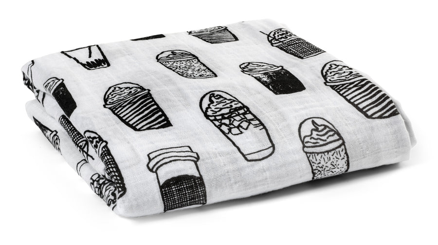 Organic Cotton Muslin Swaddle Blanket -   Coffee Love ©