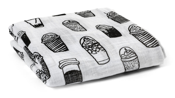 Organic Cotton Muslin Swaddle Blanket -  Coffee Love