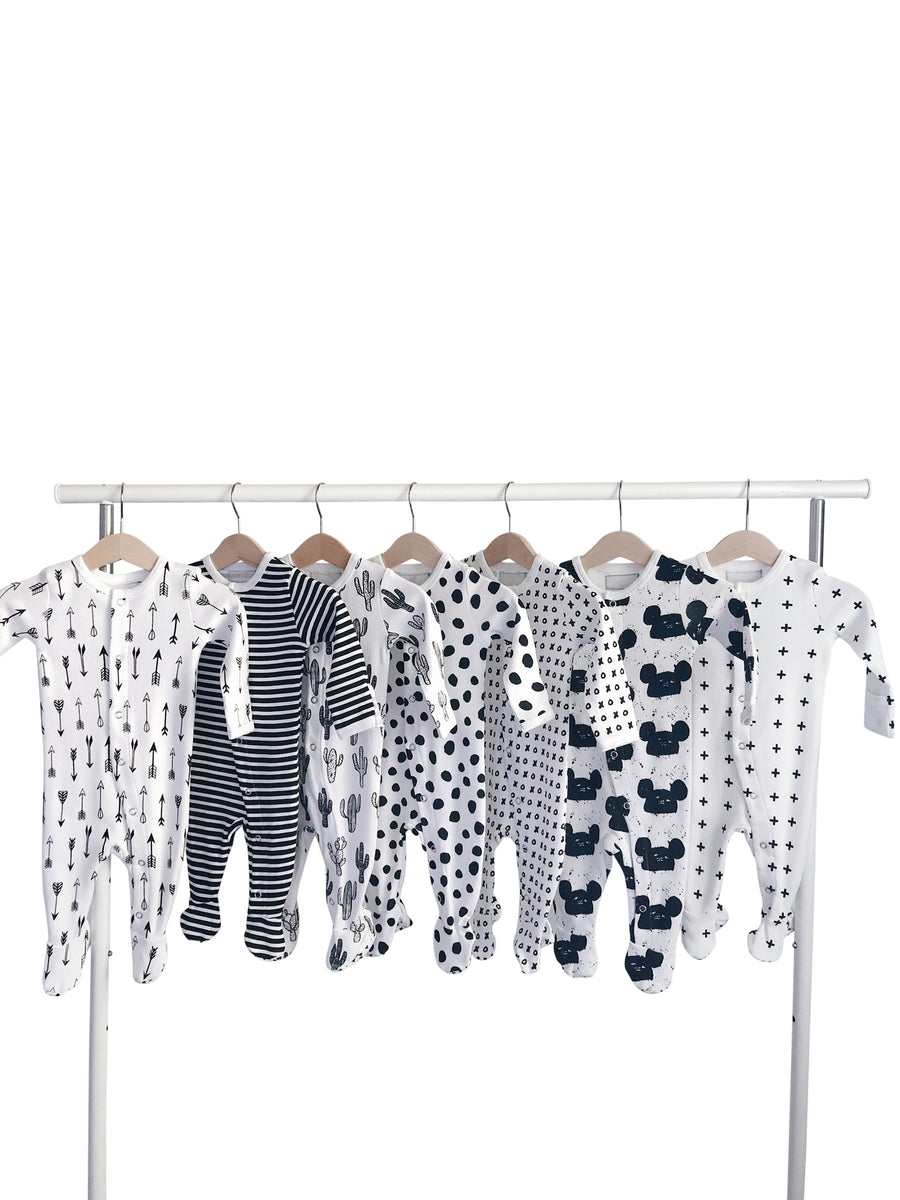 Organic Button Footie -  SIGNATURE PRINTS