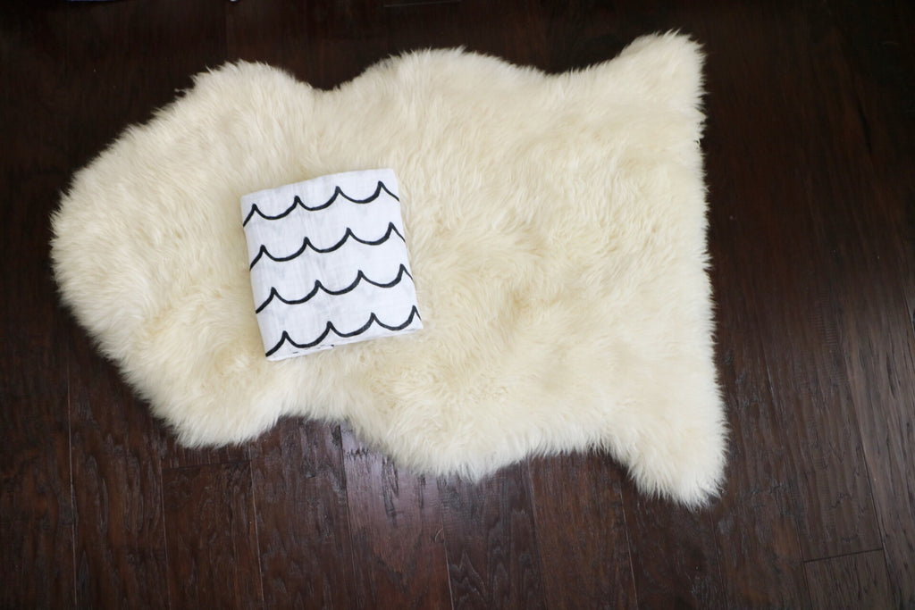 Organic Cotton Muslin Swaddle Blanket - Waves